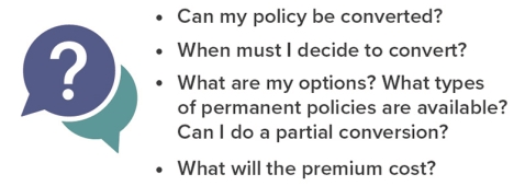 Questions to ask: Can policy be converted? When to convert? What types of permanent policies are available? Can I do a partial convert? What will premium cost?