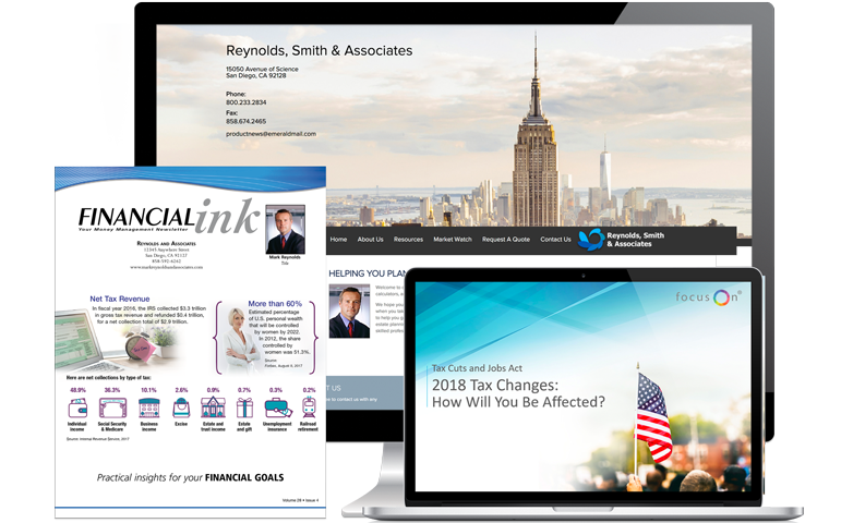Financial advisor website, financial advisor print newsletter and financial advisor seminar